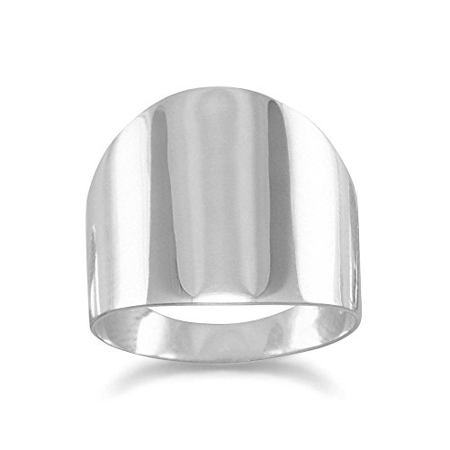 Flat Cigar Band Polished Sterling Silver Ring Mens Womens, 6 (Wide Ring Band Polished)