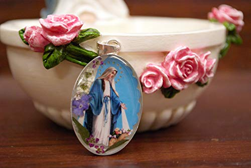 - Oval Our Lady of Grace Pendant with Real Dehydrated Flowers Preserved in Resin