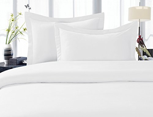 Elegant Comfort 1500 Thread Count Egyptian Quality 3 Piece Wrinkle Free and Fade Resistant Luxurious Duvet Cover Set, Full/Queen, White