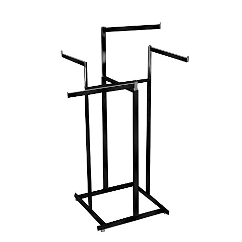 - Clothing Rack - Black 4 Way Rack, High Capacity, Blade Arms, Square Tubing, Perfect for Clothing Store Display With 4 Straight Arms
