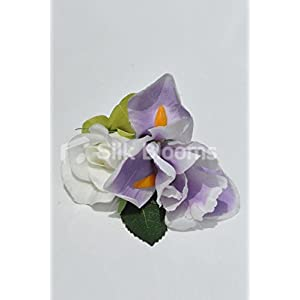 Gorgeous Artificial Purple Iris and Ivory Rose Buttonhole with Hydrangea 3