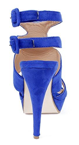 AgeeMi Shoes Mujeres Sólido Puntera Abierta Plataforma Hebilla Sandalia de Tacón