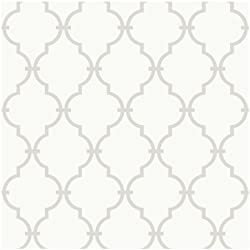 York Wallcoverings YS9102 Peek-A-Boo Graphic Trellis Wallpaper, White/Soft Taupe Grey - Ultra Removable