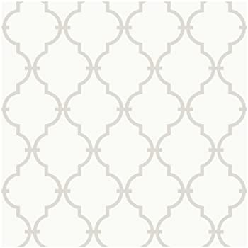 York wallcoverings ys9102 peek a boo graphic trellis wallpaper white soft taupe grey ultra removable