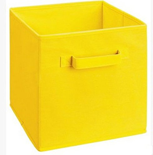 Toy Storage Bins Canvas Square Storage Basket with Handles Toy Organizer for Nursery, Kid's Toys, Closet & Laundry, Gift Basket (Yellow)