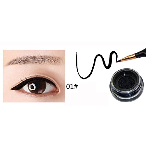 Coohole 1 PC HOT New Feather Pen Ink Bottle Cushion Eyeliner Liquid Eyeliner Pen Durable Waterproof (Black) (0.13 Ounce Liquid)