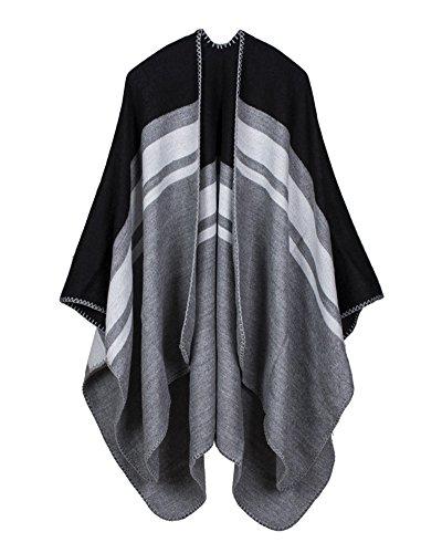 Pashmina Veste Chale Tricoter Style Echarpe Cape Poncho Manteau Noir Shawl Cardigan Rayures Wrap Femme qgSwCAx