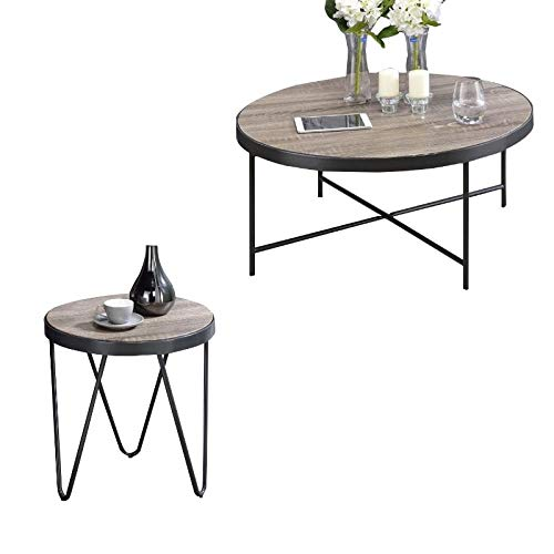 - Acme Furniture 2 Piece Coffee Table and End Table Set in Weathered Gray Oak