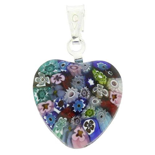 GlassOfVenice Murano Glass Millefiori Heart Pendant - Silver Multicolor ()