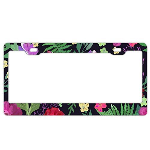 - EXMENI Mysterious Flowers License Plate Frame Theft-proof Frames Stainless Steel Board Frames