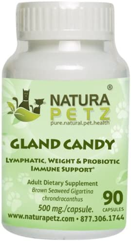 Natura Petz Gland Candy Lymphatic, Weight Loss and Probiotic Immune Support for Adult Pets, 90 Capsules, 500mg Per Capsule