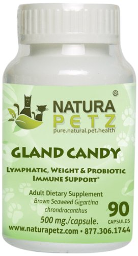 Natura Petz Gland Candy Lymphatic, Weight Loss and Probiotic Immune Support for Adult Pets, 90 Capsules, 500mg Per Capsule by Natura Petz