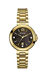 Bulova 97P107 Ladies Diamond Gallery Gold Steel Bracelet Watch