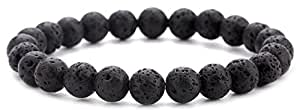 Hamoery Men Women 8mm Natural Stone Beads Bracelet Elastic Yoga Agate Bracelet Bangle(Lava Stone)