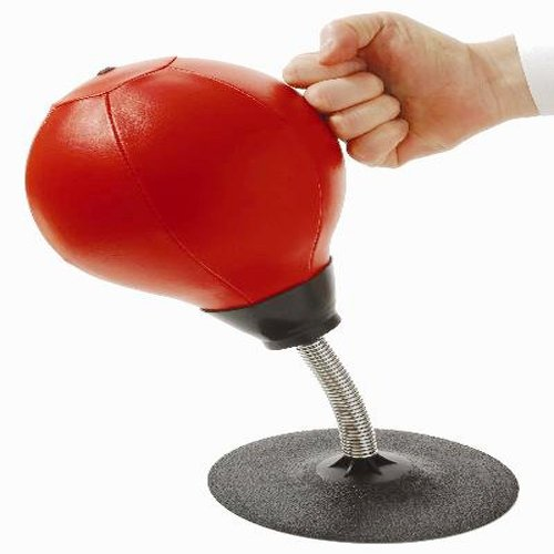 Homeinn MN245 Leather Stress Buster Desktop Punching Ball Heavy Duty Suction Freestanding Reflex Bag Kit Adults Kids Home Office