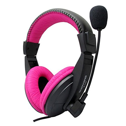 Microphone DZT1968® Fashion Stereo Earphone Headband PC Notebook Gaming Headset (Pink)