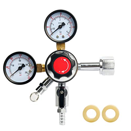 YaeBrew Dual Gauge Co2 Draft Beer Dispensing Regulator, Chrome plated Brass CGA-320 -