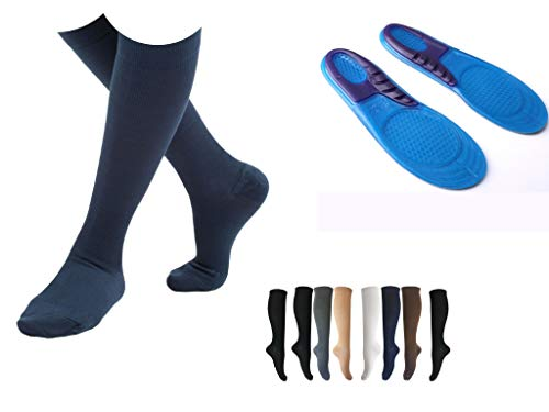 8 Pairs Value Pack of Compression Socks + Shoe Gels For Men & Women | BEST Travel & Flight Bundle - Fitness & Running | Comfortable Knee High Graduated | - 15-20mmHgs (Mixed Colors)