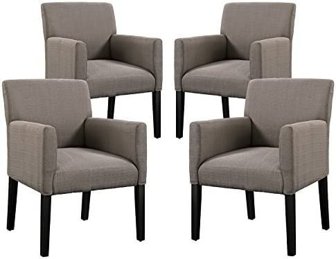 Enjoyable Modway Chloe Upholstered Fabric Modern Farmhouse Dining Arm Accent Chair In Gray Set Of 4 Caraccident5 Cool Chair Designs And Ideas Caraccident5Info