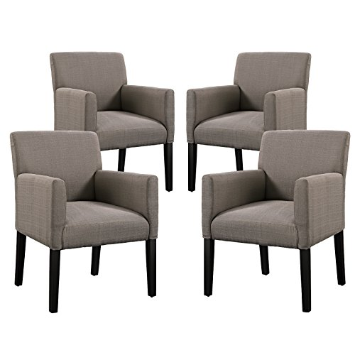 Modway Chloe Fabric Upholstered Armchairs in Gray - Set of (6 Arm Chair Set)
