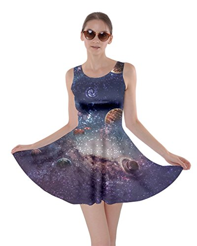 CowCow Womens Planets 2 Skater Dress, Planets - XL -