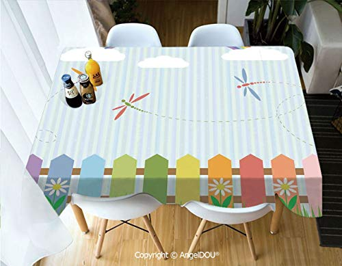 AngelDOU Waterproof Stain Resistant Lightweight Table Cover Colorful Dragonflies Drifting Over Fences on a Sunny Rainbow Day Kids Nursery Theme for Camping Picnic Rectangular Table,W60xL104(inch)