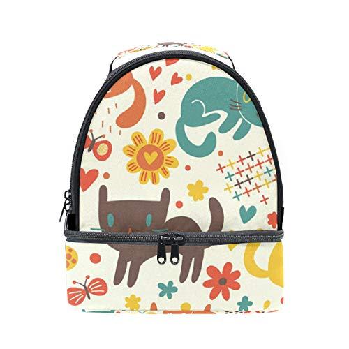 mariposas gatos con escuela diseño almuerzo la aislamiento de correa de para pincnic con el para de ajustable con para Alinlo Bolsa hombro YwqftI8