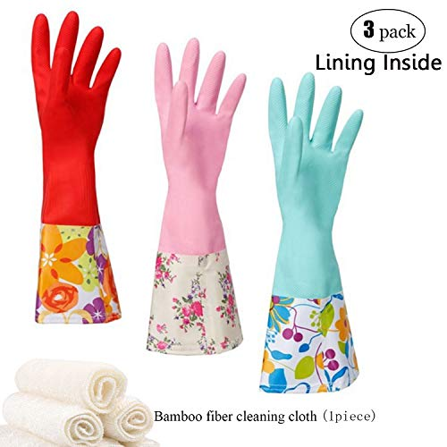 Household Rubber Cleaning Dishwashing Latex Gloves Cotton Lining Warm Non-slip Kitchen Gloves (3-Pairs),Free get Cleaning Cloth (1-Pack) 3 P Lined