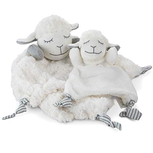 (Lovey Security Blanket Gift Set of 2 for Baby Boys and Girls - Sweet Loveys and Blankies with Lamb Stuffed Animals - Ultra Soft, Handmade, BPA-Free - The Poppy and Pip Newborn Cuddle Blanket)