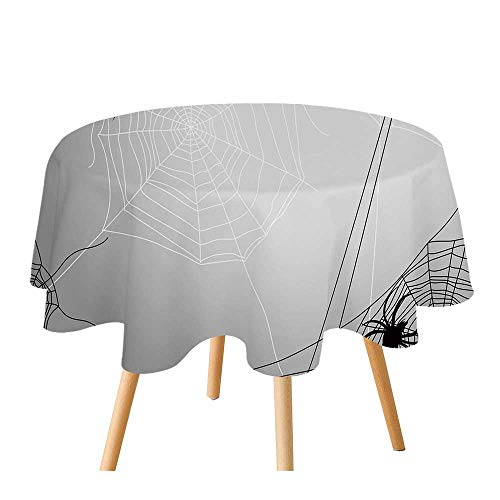 C COABALLA Spider Web Polyester Round Tablecloth,Spiders Hanging from Webs Halloween Inspired Design Dangerous Cartoon Icon Decorative for Home Restaurant,55.1