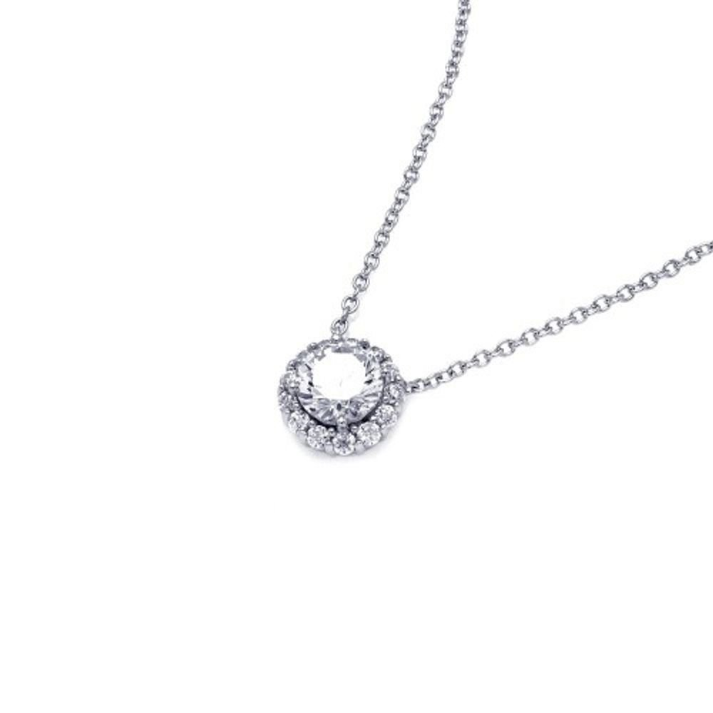 Princess Kylie Cubic Zirconia Round with Encrusted Bezel Necklace Rhodium Plated Sterling Silver