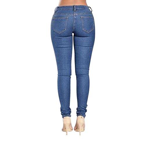 Jeggings Uk Ritagliare Tubo Jeans Scuro Blu Matita Strappato Del Donna Mena Della Il F64xqXqw