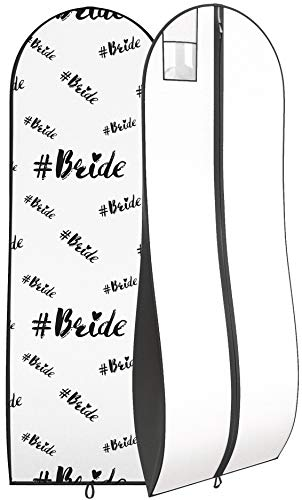 """Gusseted Bride Gown Garment Bag for Women's Bridal Wedding Dresses - Travel Folding Loop, ID Window - 72"""" x 24"""" with 10"""" Tapered Gusset – Black and White - by Your Bags"""