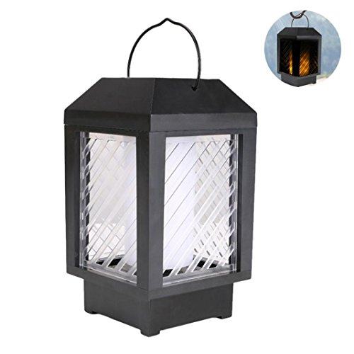 Transer Solar Powered 96 Pcs LED Light Outdoor Garden Yard Wall Fence Pathway Lamp Gutter Flames Light (Black) by Transer