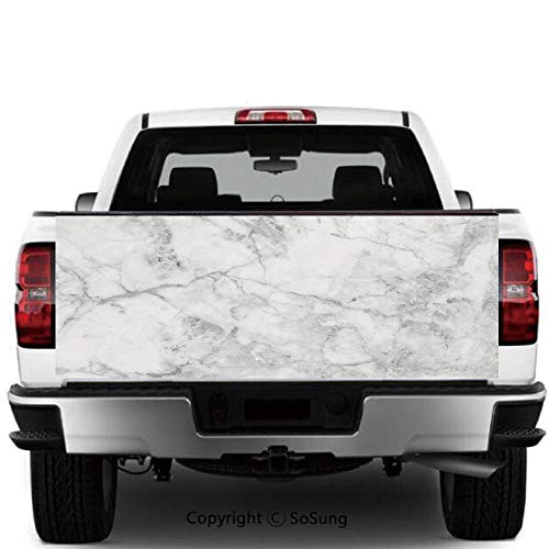 Marble Vinyl Wall Stickers,Fractured Lines Stained Grunge Surface Effects Ceramic Style Background Artful Motif Decorative Cars Trucks Decorative Decal Sticker,55x15 Inches,Grey Dust