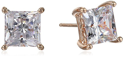 Rose Gold Plated Sterling Silver Stud Earrings set with Princess Brilliant Cut Swarovski Zirconia (4 cttw)