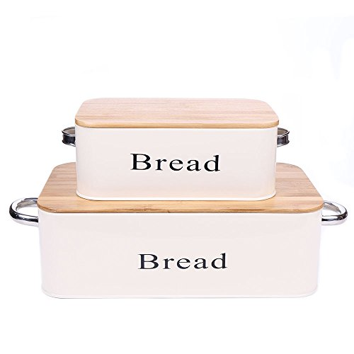 Home by Jackie Inc Cream White Vintage X559 Set of 2 Metal Kitchen Storage Tin Canister Bread box/container/Bin/Home Kitchen Gifts With Bamboo - Canister Bread