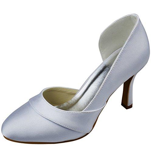 Minitoo GYAYL308 Womens Stiletto High Heel Closed Toe Satin Evening Party Bridal Wedding Pumps Ivory DKkKaL35Ot