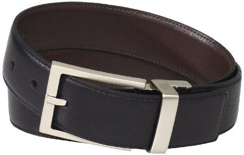 Calvin Klein Men's Reversible Leather Belt, Black/Brown, 34 (Black Stitched Leather Belt)
