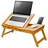 "LapGear Safety-Tilt Laptop Table/Bed Tray/Lap Desk - Natural Bamboo (Fits up to 17"" Laptop)"