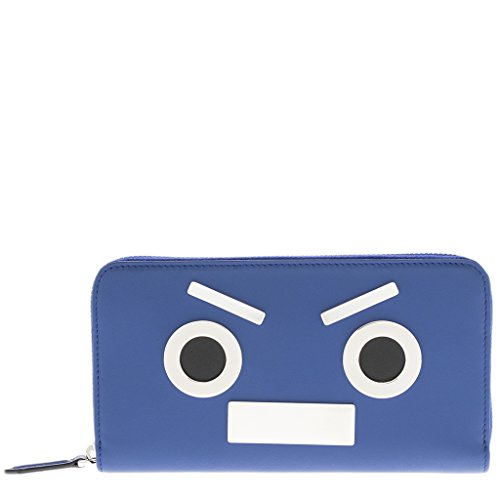 Fendi Men's Faces Zip around Wallet Blue