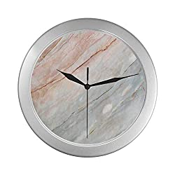 C COABALLA Marble Simple Silver Color Wall Clock,Onyx Stone Textured Natural Featured Authentic Scratches Artful Illustration Decorative for Home Office,9.65 D