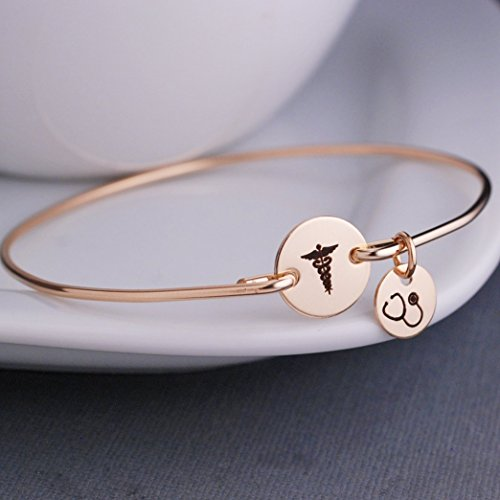 Caduceus Bangle Bracelet Gold Jewelry Gift for Nurse with Stethoscope Charm Graduation Gift