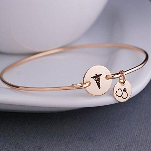 Caduceus Bangle Bracelet Gold Jewelry Gift for Nurse with Stethoscope Charm Graduation Gift