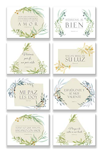 48 Pack Spanish Inspirational Bible Verse Note Cards | 8 Unique Scripture Card Designs | Single Sided with Envelopes