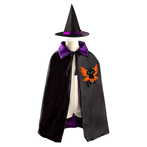 69PF-1 Halloween Cape Matching Witch Hat Black Butterfly Cat Wizard Cloak Masquerade Cosplay Custume Robe Kids/Boy/Girl Gift Purple -