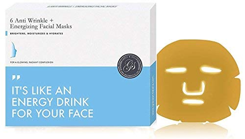 Grace & Stella Anti-Wrinkle + Energizing Gold Collagen Hydragel Face Masks (6 pcs) | Depuffing & Hydrating Facial Sheet Mask | Vegan & Paraben-Free
