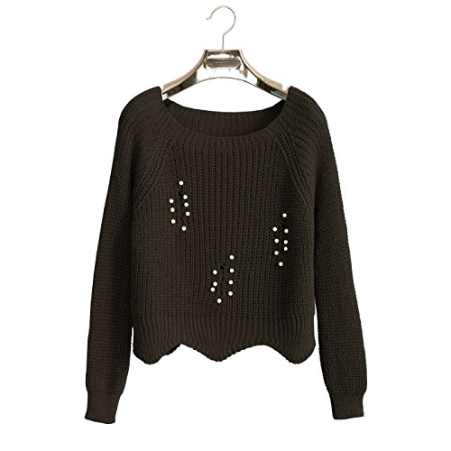 Noir Wear Line Miss Top Crop Perles tr avec Pull Tricot 6aqwwC7