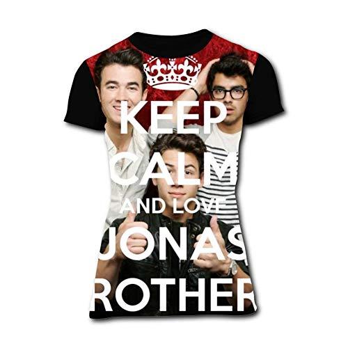 (Fashion Love_Jonas_Brothers T-Shirt for Women Short Sleeve Girls Shirts Tees Tops Black)