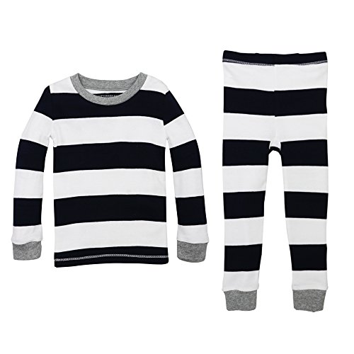 Burt's Bees Baby Unisex Baby Pajamas, 2-Piece PJ Set, 100% Organic Cotton (12 Mo-7 Yrs) Midnight Rugby Stripe 3T (Black Leggings Flame)